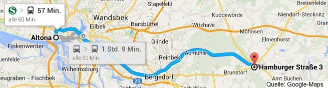 Google-Map von Hamburg nach Schwarzenbek